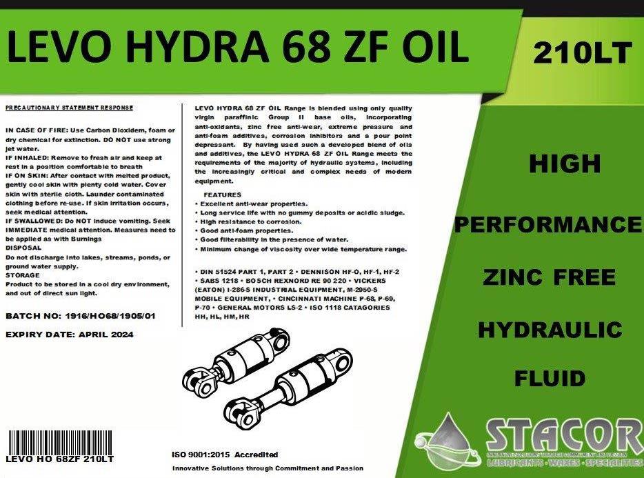 zinc free hydraulic oil